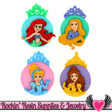 Disney PRINCESS Cinderella, Ariel, Belle, and Rapunzel Dress It Up Jesse James Buttons - Rockin Resin  - 1