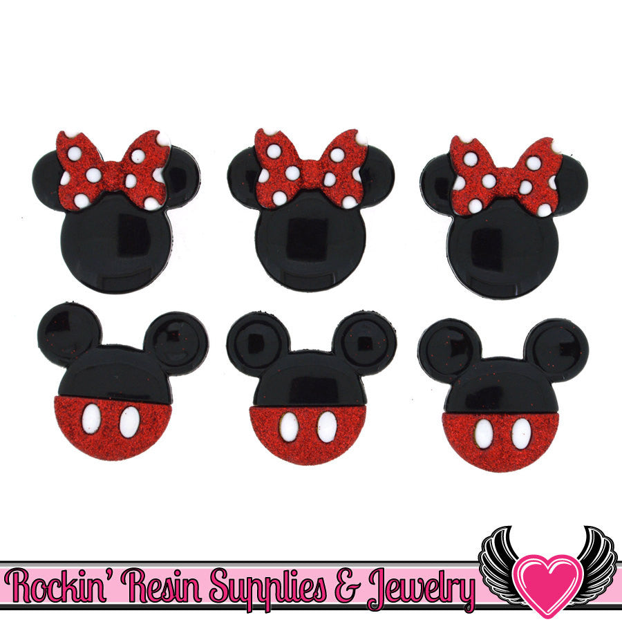Disney MICKEY and MINNIE MOUSE Heads Dress It Up Jesse James Buttons - Rockin Resin  - 1