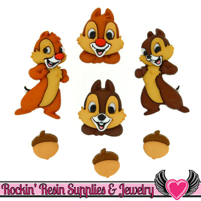 DISNEY CHIP and DALE Dress It Up Jesse James Buttons - Rockin Resin  - 1