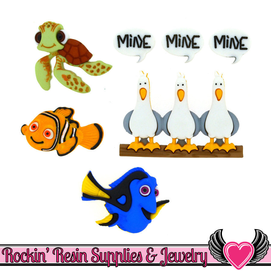 DISNEY FINDING NEMO Dress It Up Jesse James Buttons - Rockin Resin  - 1