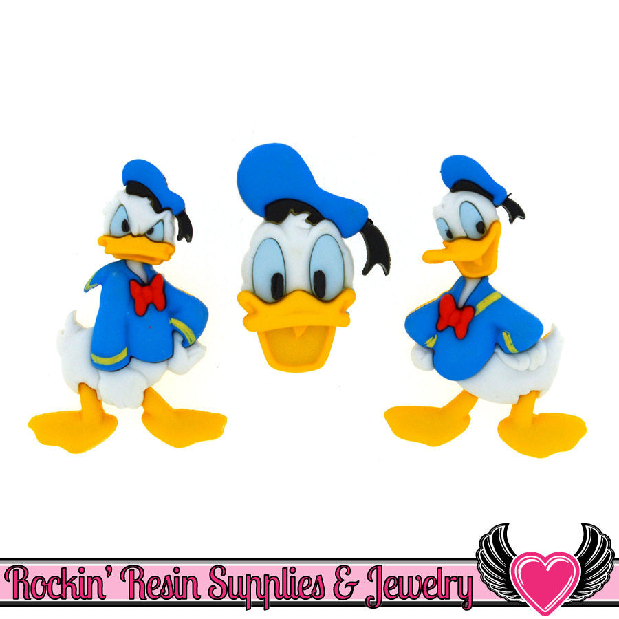 DISNEY DONALD DUCK Dress It Up Jesse James Buttons - Rockin Resin  - 1