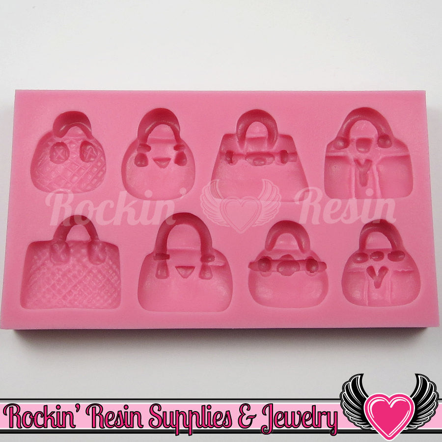 8 Fashion Handbags / Purses SILICONE MOLD Food Grade Flexible - Rockin Resin  - 1