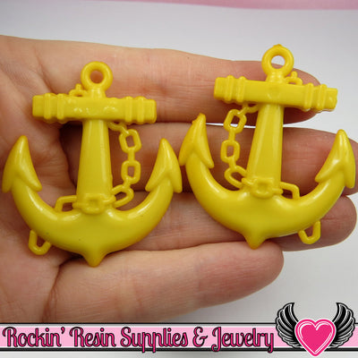 Yellow Anchor Pendant Sailing Nautical Charm (8 pieces) 45 x 39 mm - Rockin Resin