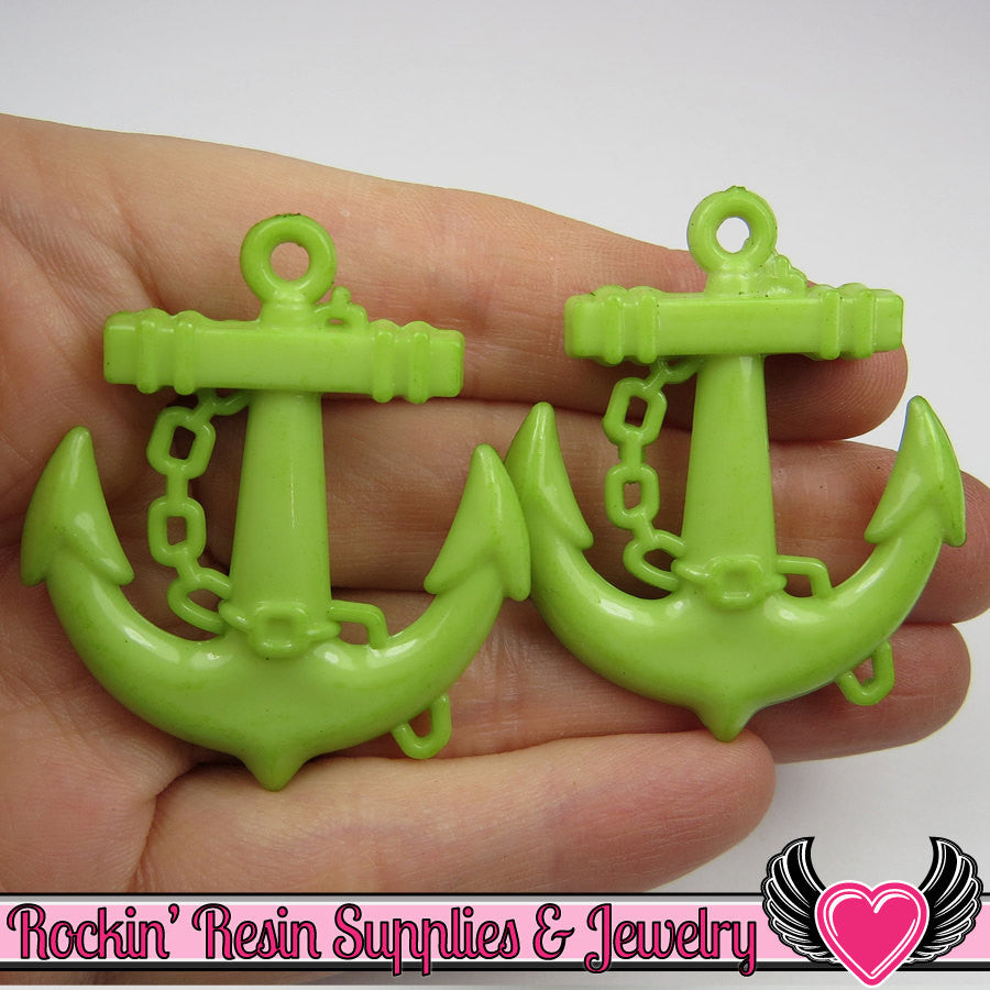 Green Anchor Pendant Nautical Charm Pendant (8 pieces) 45 x 39 mm