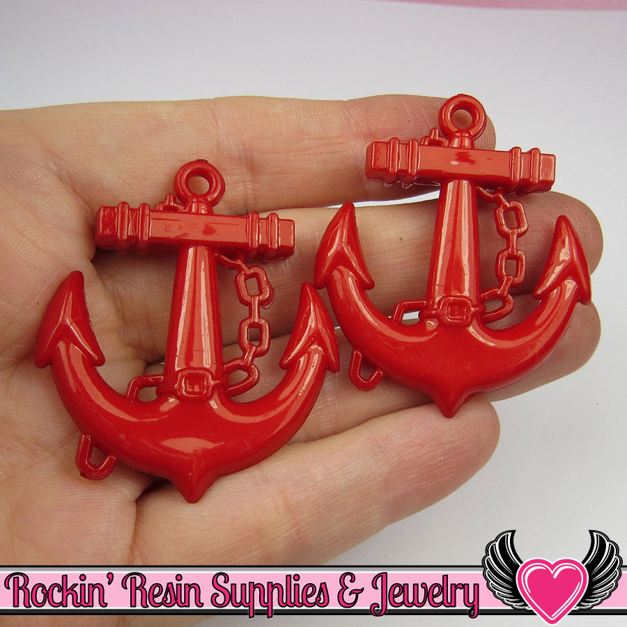 Red Anchor Pendant Sailing Nautical Charm (8 pieces) 45 x 39 mm - Rockin Resin