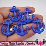 Dark Blue Anchor Pendant Sailing Nautical Charm (15 pieces) 29 x 24 mm - Rockin Resin