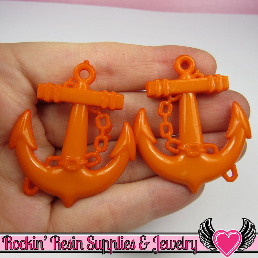 Orange Anchor Pendant Nautical Sailing Charm (8 pieces) 45 x 39 mm