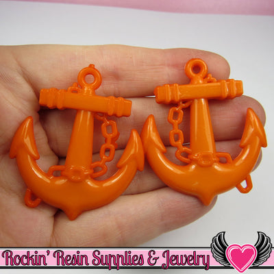 Orange Anchor Pendant Nautical Sailing Charm (8 pieces) 45 x 39 mm - Rockin Resin