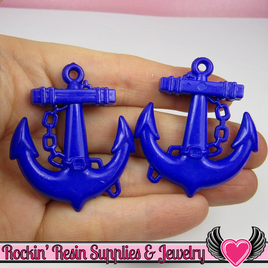 Navy Blue Anchor Pendant Nautical Charm/Pendant (8 pieces) 45 x 39 mm