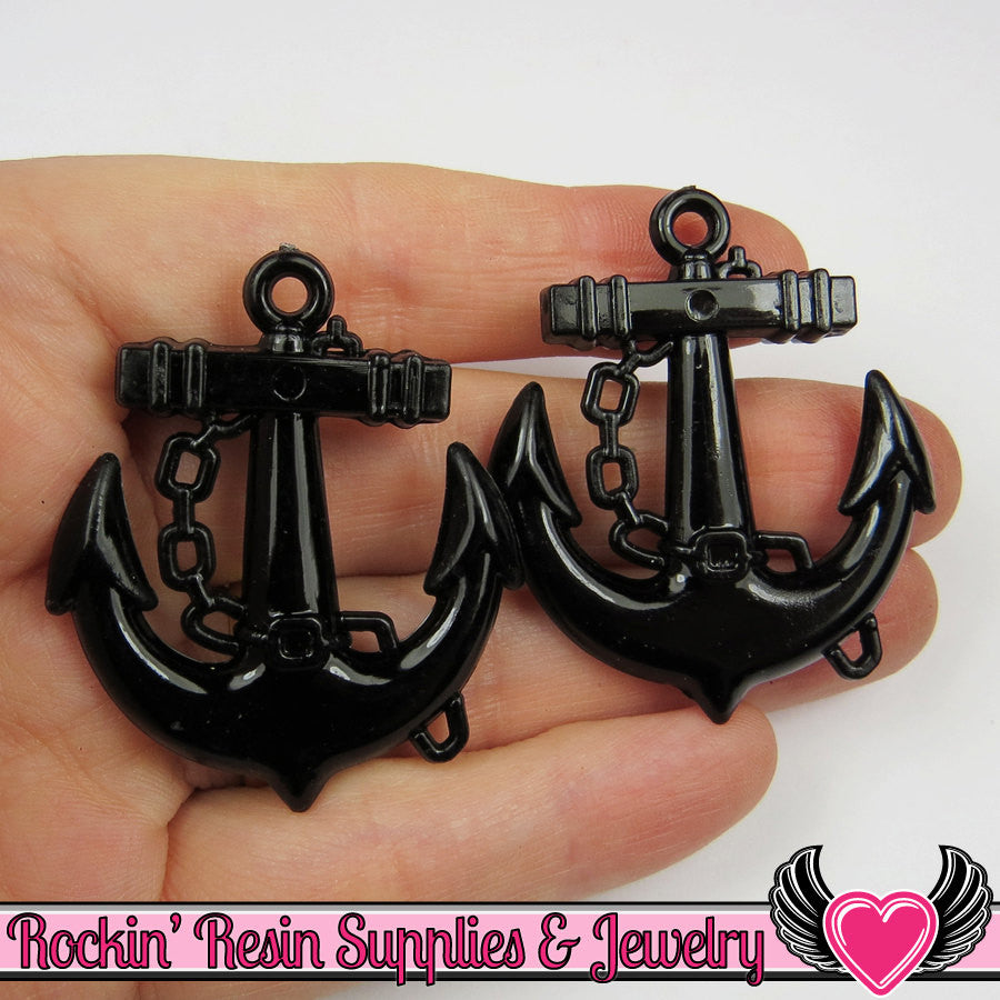 Black Anchor Pendant Sailing Nautical Charm Pendant (8 pieces) 45 x 39 mm