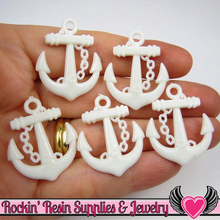 White Anchor Pendant Sailing Nautical Charm (15 pieces) 29 x 24 mm - Rockin Resin
