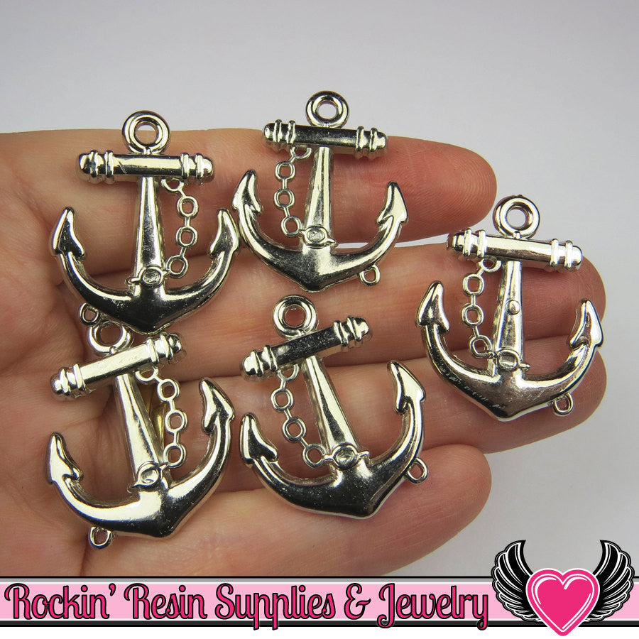 Silver Anchor Pendant Sailing Nautical Charm (15 pieces) 29 x 24 mm - Rockin Resin