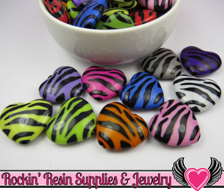 Bright ZEBRA HEART Animal Print Beads 23x26mm ( 8 ct ) - Rockin Resin  - 1