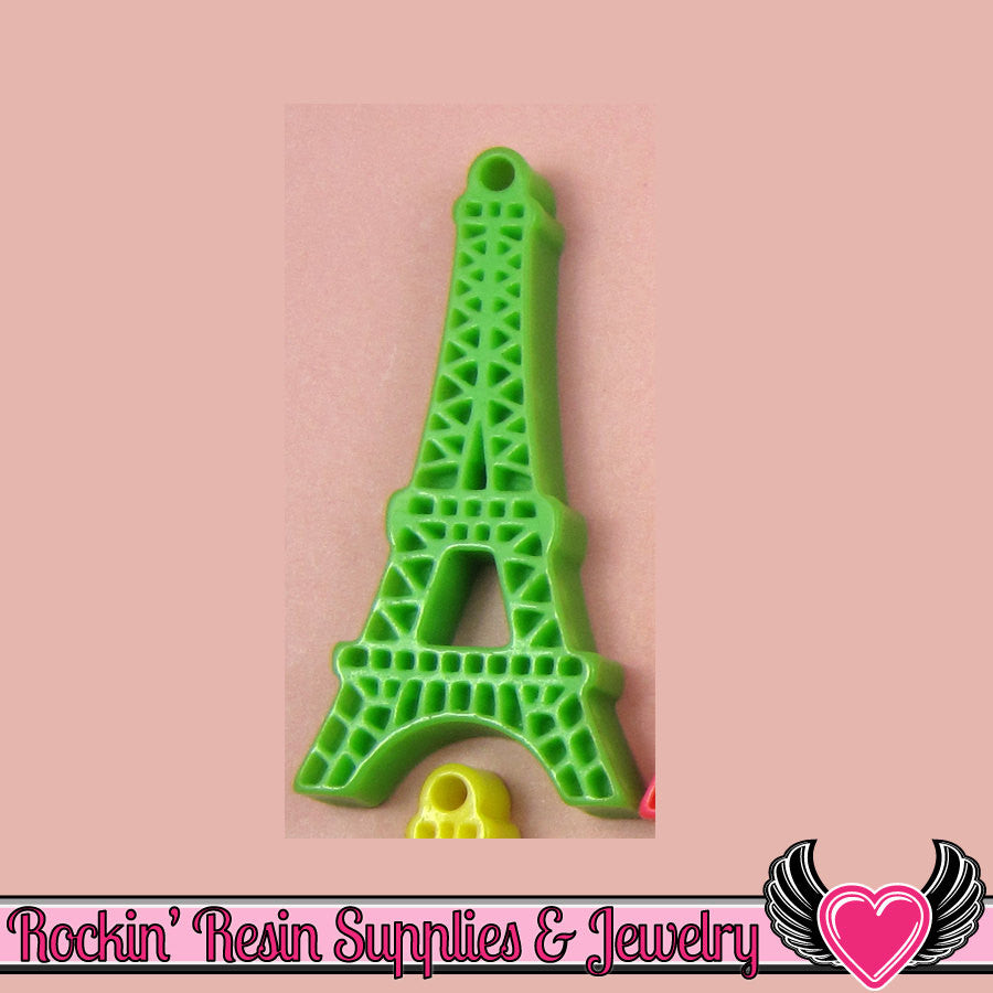 5 pc Green Paris EIFFEL TOWER Flatback Cabochon or Charm 47 x 23 mm - Rockin Resin  - 1