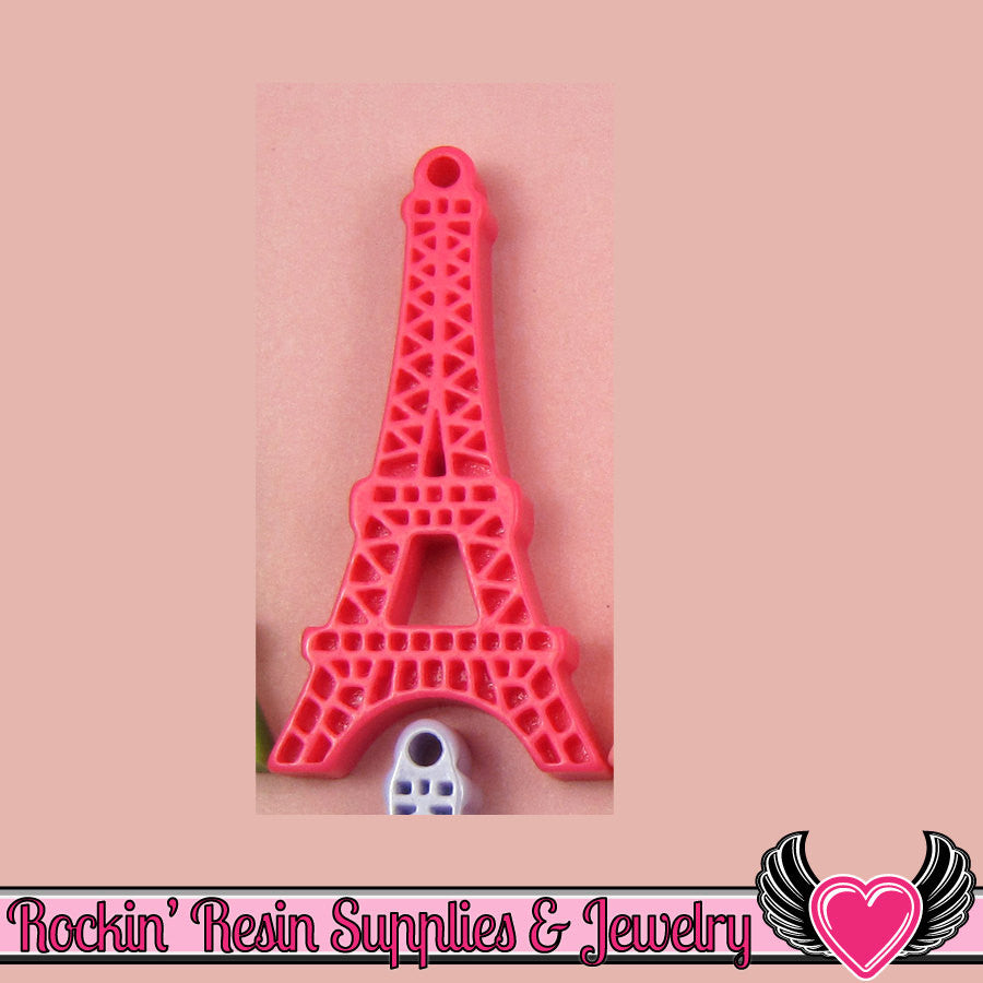 5 pc Hot Pink Paris EIFFEL TOWER Flatback Cabochon or Charm 47 x 23 mm - Rockin Resin  - 1