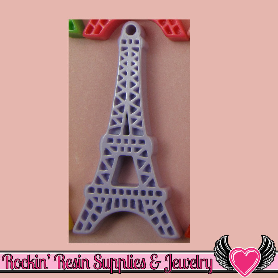 5 pc Lavender Purple Paris EIFFEL TOWER Flatback Cabochon or Charm 47 x 23 mm - Rockin Resin  - 1