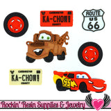 DISNEY CARS Lightning McQueen & Mater Dress It Up Licensed Jesse James Buttons - Rockin Resin  - 1