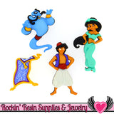 DISNEY ALADDIN Princess Jasmine, Genie, and Magic Carpet Dress It Up Licensed Jesse James Buttons - Rockin Resin  - 1