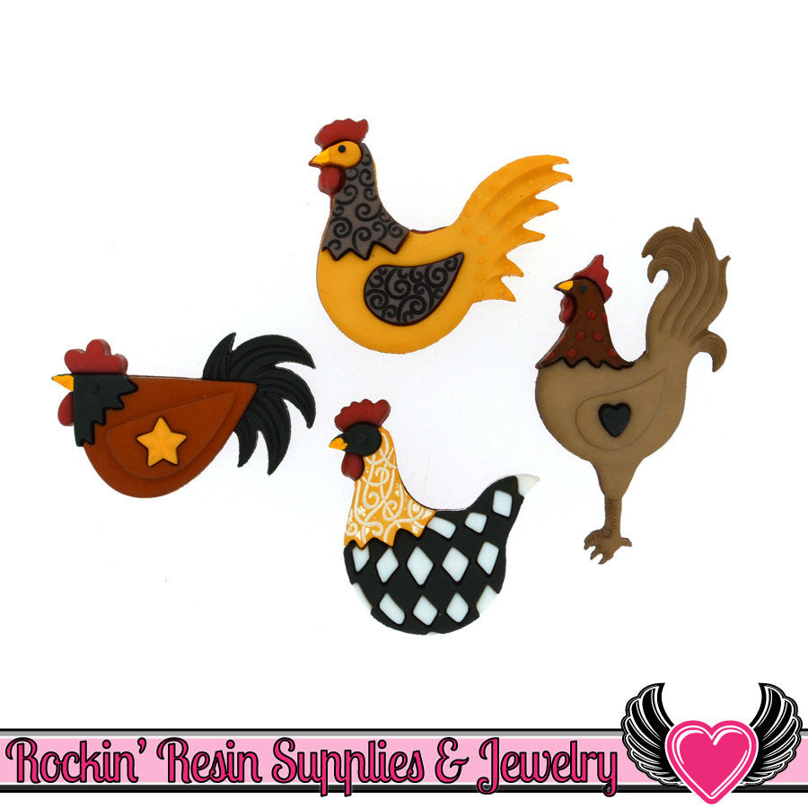 Jesse James Buttons 4 pc HEN HOUSE Folk Art Chicken Buttons - Rockin Resin  - 1