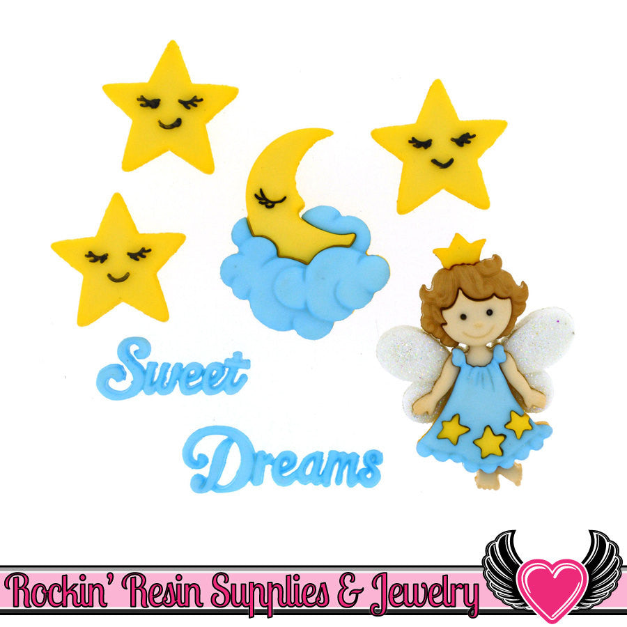 Jesse James Buttons 7 pc SWEET DREAMS Fairy, Sleep, Moon, Stars Buttons - Rockin Resin  - 1