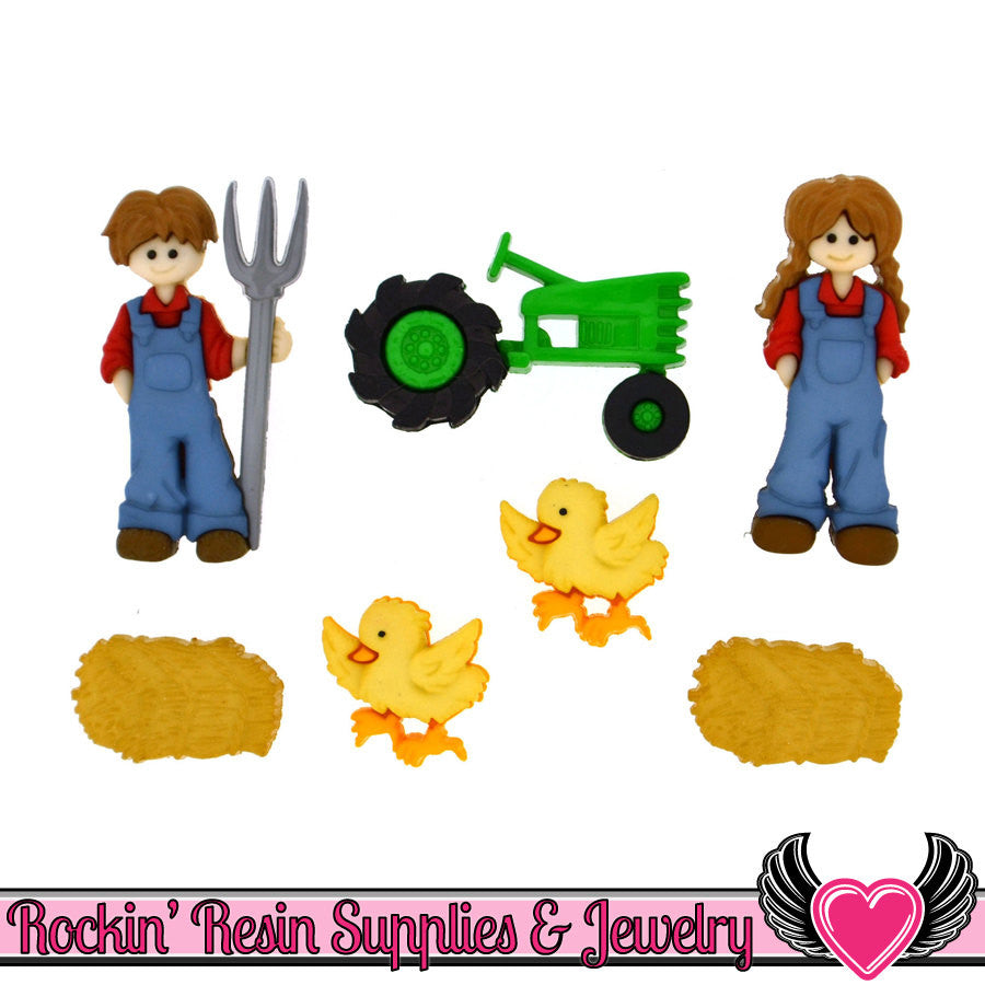 Jesse James Buttons 7pc DOWN on the FARM Tractor, Farmers, Ducks, Hay Buttons - Rockin Resin  - 1