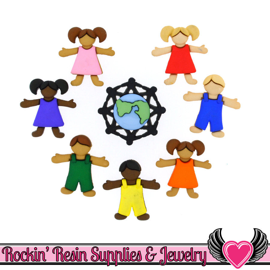 Jesse James Buttons 7 pc Children Around The World Buttons - Rockin Resin  - 1