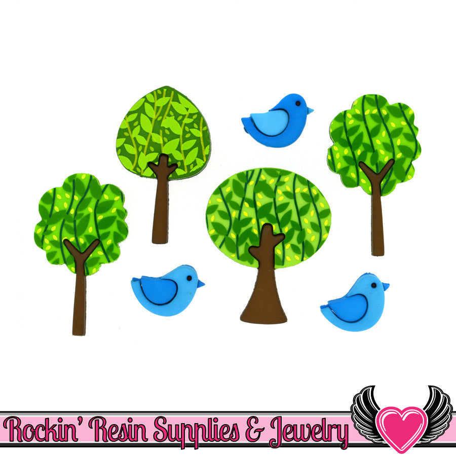 Jesse James Buttons 7 pc FOREST FLAIR Trees & Blue Birds Buttons - Rockin Resin  - 1