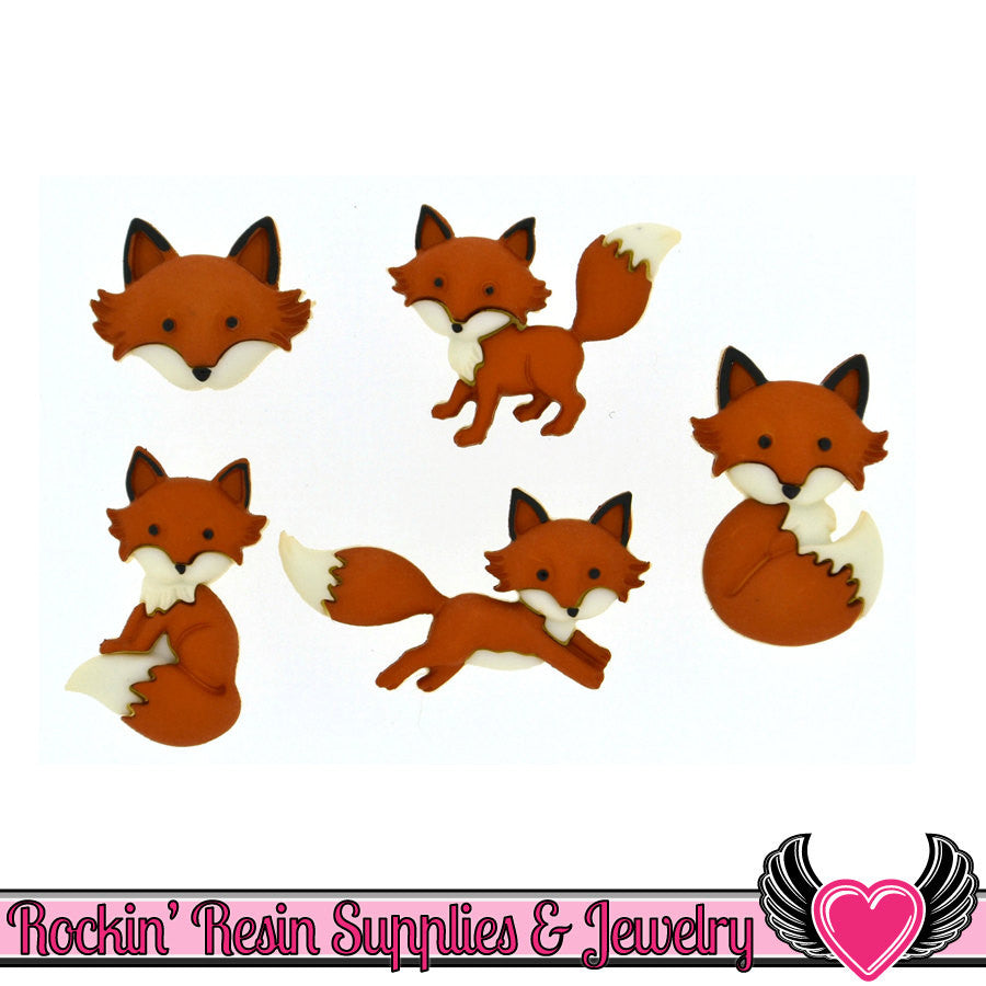Jesse James Buttons 5 pc OUT FOXED Cute Fox Buttons - Rockin Resin  - 1