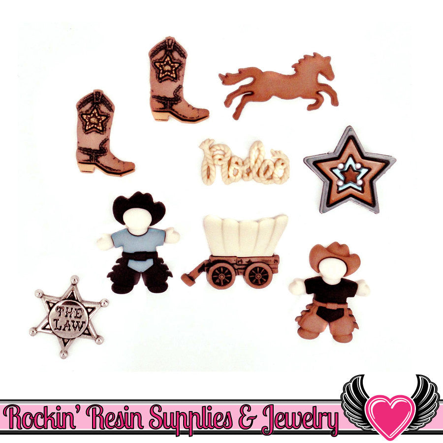 Jesse James Buttons 9pc Howdy Partner Cowboy, horse, badge, and boots Buttons - Rockin Resin  - 1