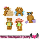 Jesse James Buttons 5pc SUMMER BEARS Teddy Bear Buttons - Rockin Resin  - 1