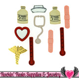 Jesse James Buttons 11pc SAY AHHH Medical Bandage, Medicine, Thermometer, Caduceus Buttons - Rockin Resin  - 1