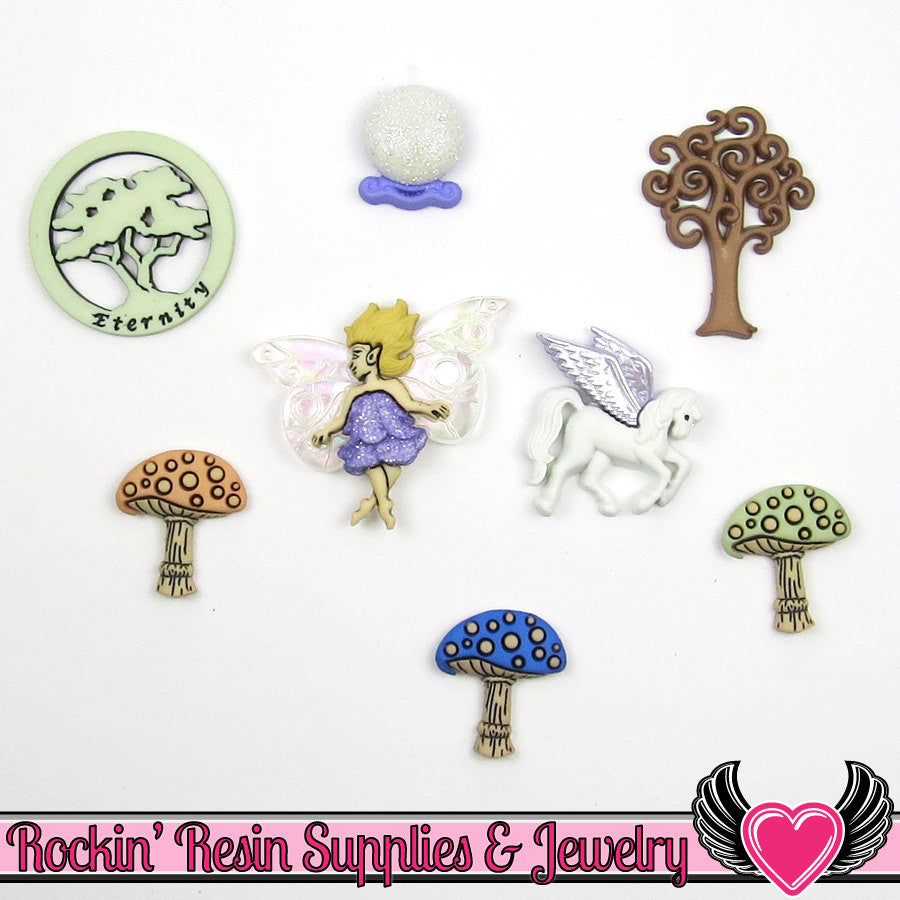 Jesse James Buttons 8pc MYTHICAL & MAGICAL Mushrooms, Fairy, Unicorn, Crystal Ball Buttons - Rockin Resin  - 1