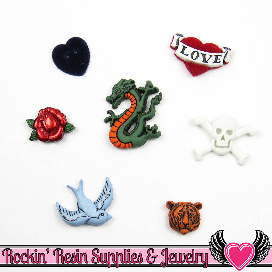Jesse James Buttons 7pc RETRO NOSTALGIA Tiger, Bird, Dragon Tattoo, Skull, Rose, Heart Buttons - Rockin Resin  - 1