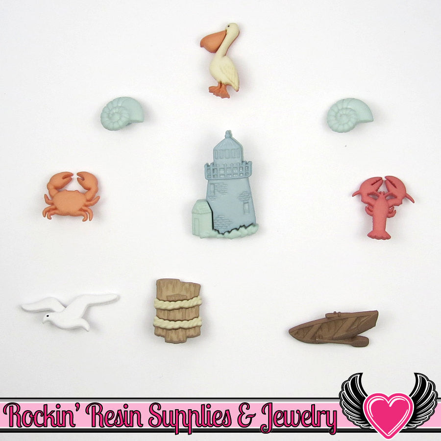 Jesse James Buttons 9pc OCEAN VIEW Lighthouse, Pelican, Lobster, Shells, Crab, & Boat Buttons