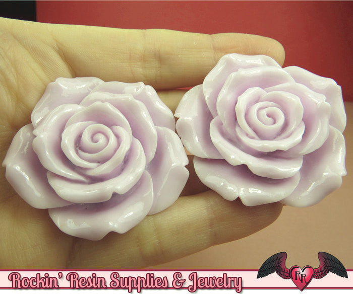 2 pcs 42mm Pale Purple ROSES Resin Flower Cabochons