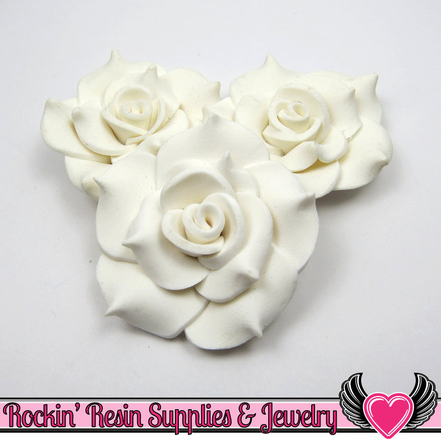 42mm White Polymer Clay Rose Flatback Cabochons ( 3 pieces )