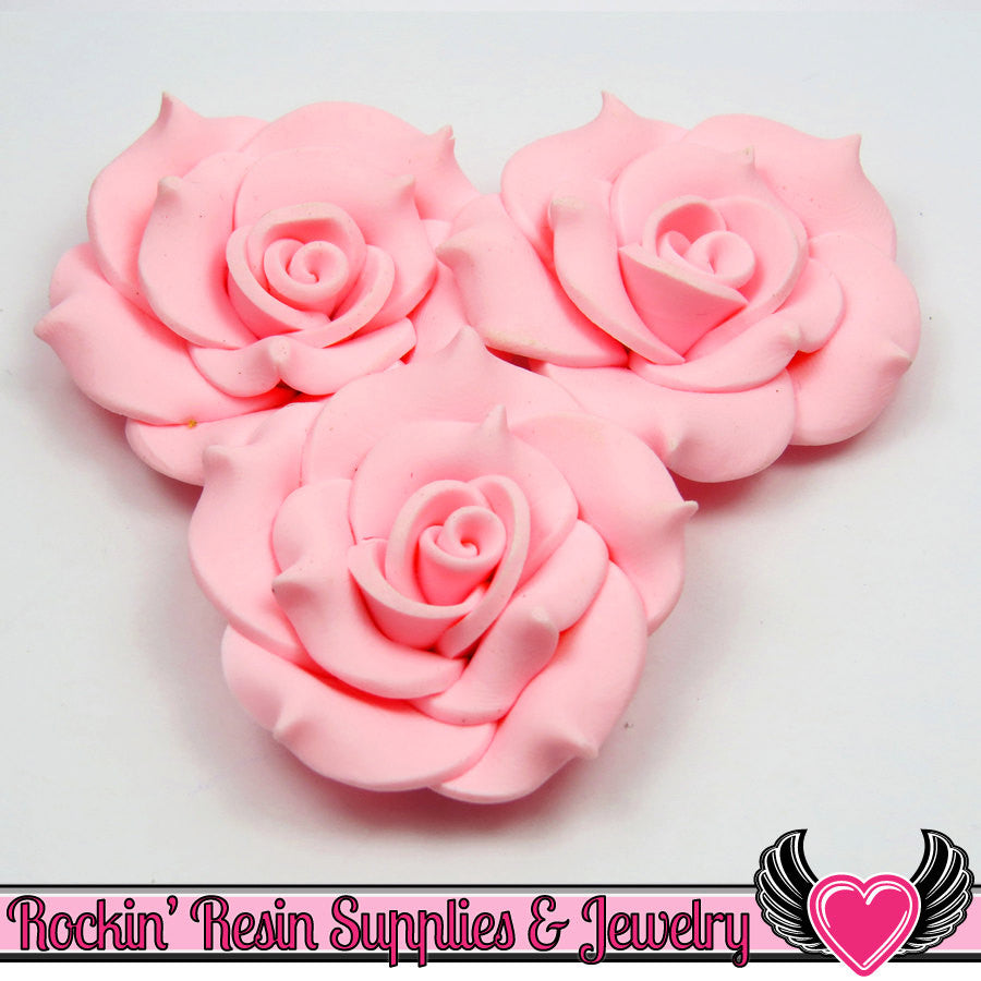 42mm Light Pink Polymer Clay Rose Flatback Cabochons ( 3 pieces )