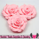 42mm Light Pink Polymer Clay Rose Flatback Cabochons ( 3 pieces ) - Rockin Resin