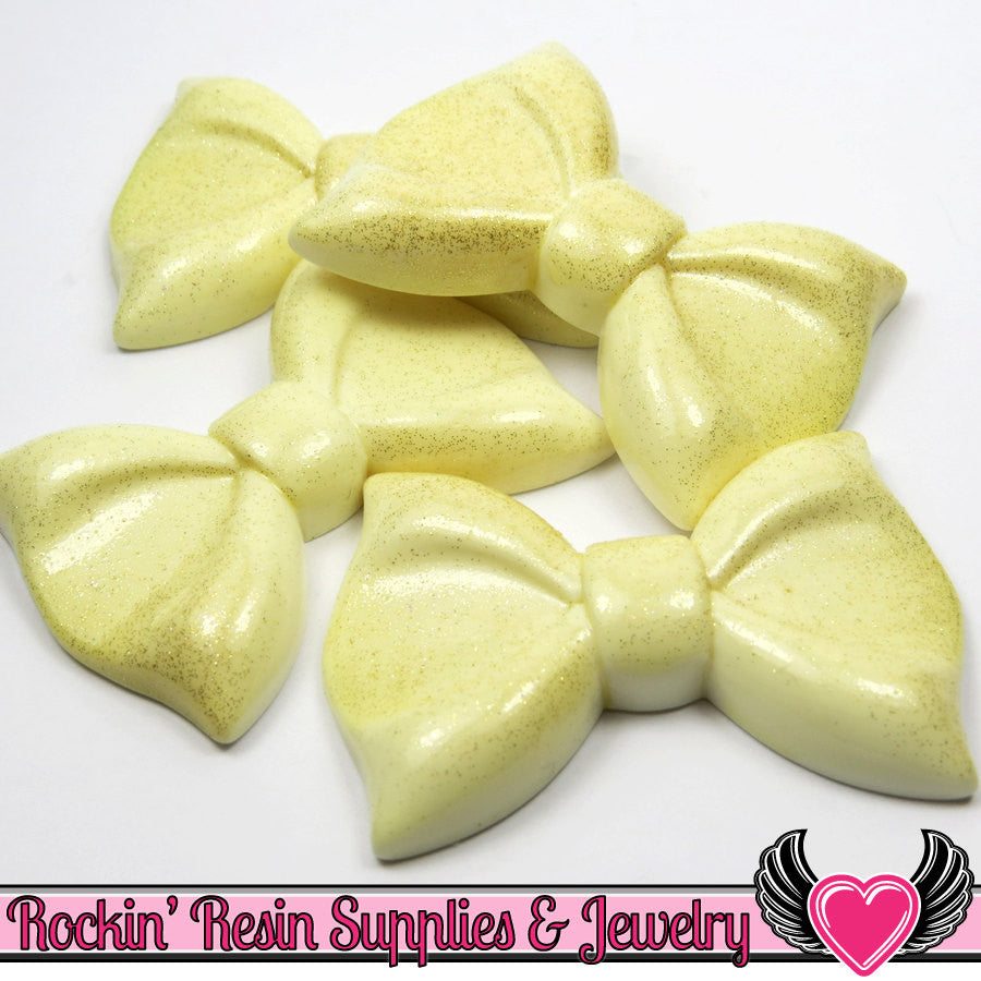 2 pc Jumbo Glitter IVORY BOWS 60mm Bow Cabochons