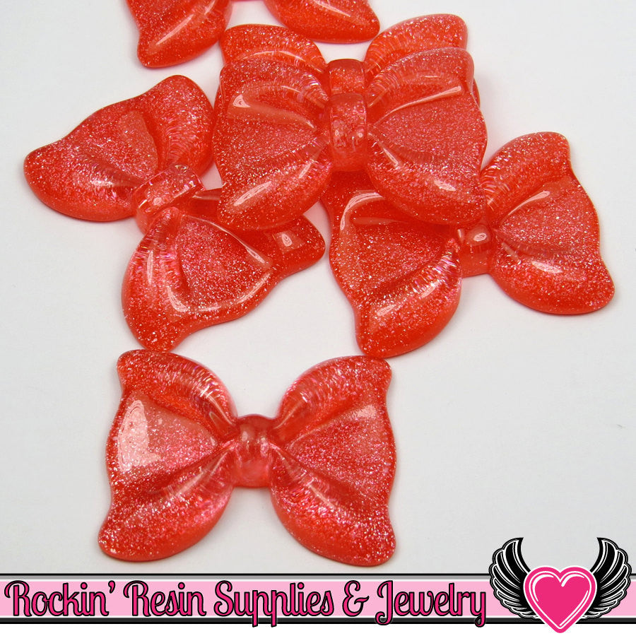 Watermelon RED GLITTER BOWS 2 pc Flatback Decoden Cabochons 54x41mm