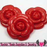 46mm Glitter RED ROSES Flatback Resin Flower Cabochons ( 4 pieces ) - Rockin Resin  - 2
