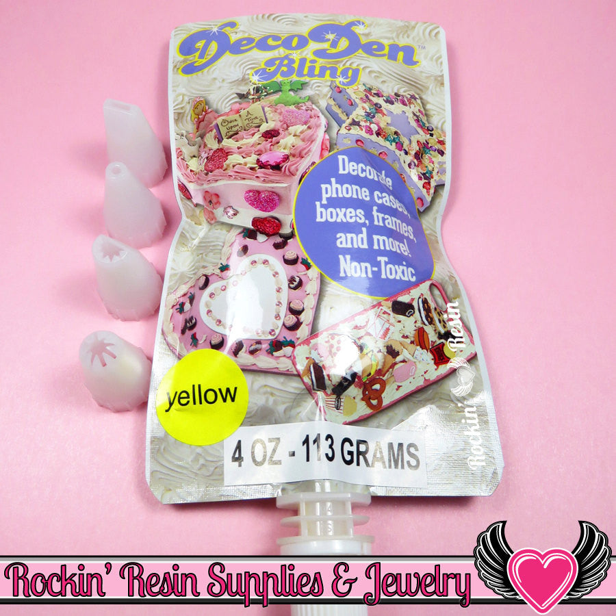 Yellow DECODEN BLING Fake Whipped Cream 4 fl oz with 4 Icing Tips - Rockin Resin  - 1