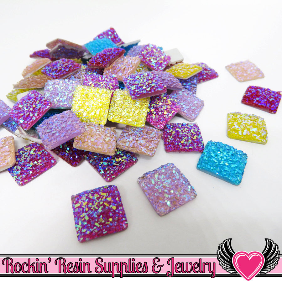 20 pcs Sparkly Glitter Faux Resin Square Stones Round 12mm