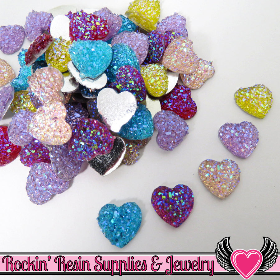 20 pcs Sparkly Glitter Faux Resin Heart Stones Round 12mm