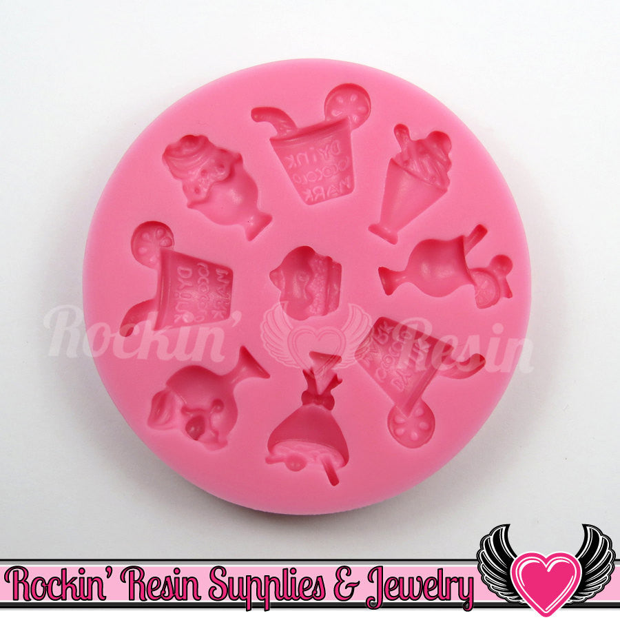Ice Cream & Cocktail Drinks Cabochon SILICONE MOLD, Food Grade - Rockin Resin  - 1