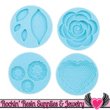 Romantic Martha Stewart SILICONE MOLD Rose, Leaves, Scalloped Heart, & Flowers - Rockin Resin  - 1