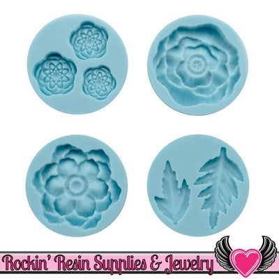 Cheerful Flower Martha Stewart SILICONE MOLD Flowers and Leaves - Rockin Resin  - 1