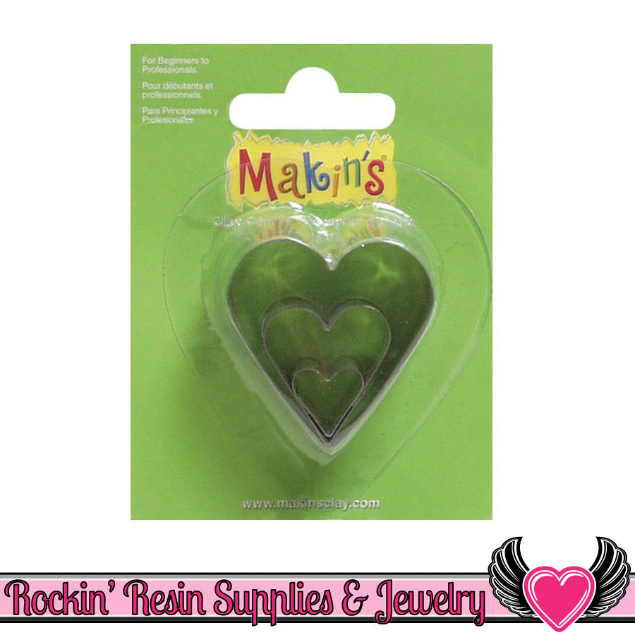 Makin's 3 piece HEART COOKIE CUTTERS