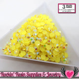 300 pcs 3mm AB YELLOW Jelly Rhinestones - Rockin Resin  - 1