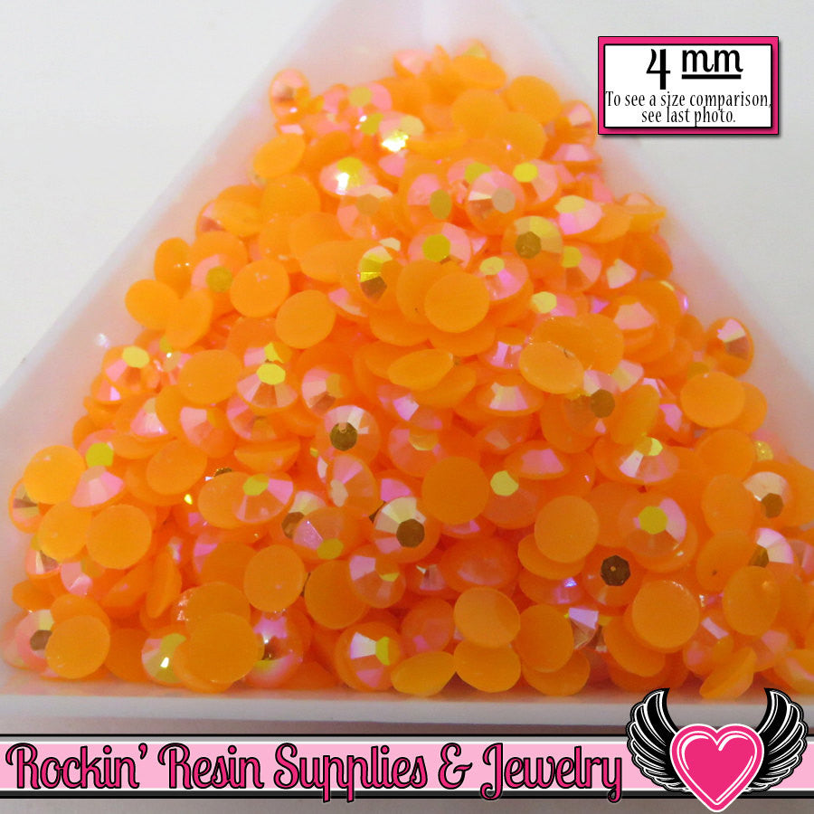 200 pcs 4mm AB Jelly TANGERINE ORANGE Candy Rhinestones - Rockin Resin  - 1